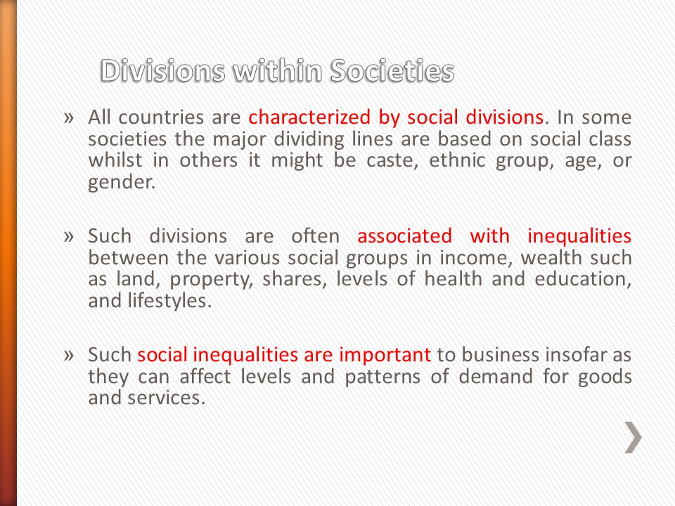 Divisions within Societies