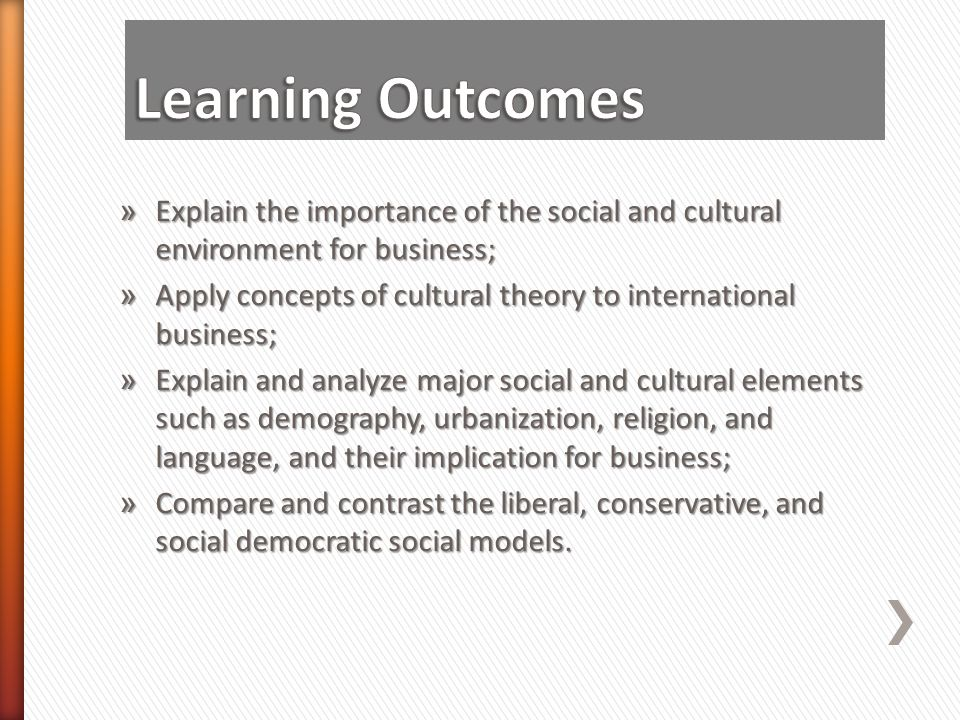 Learning Outcomes Explain the importance of the social and cultural environment for business;