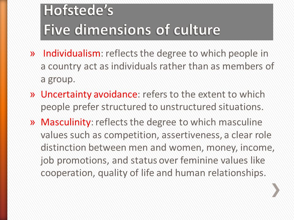 Hofstede's Five dimensions of culture