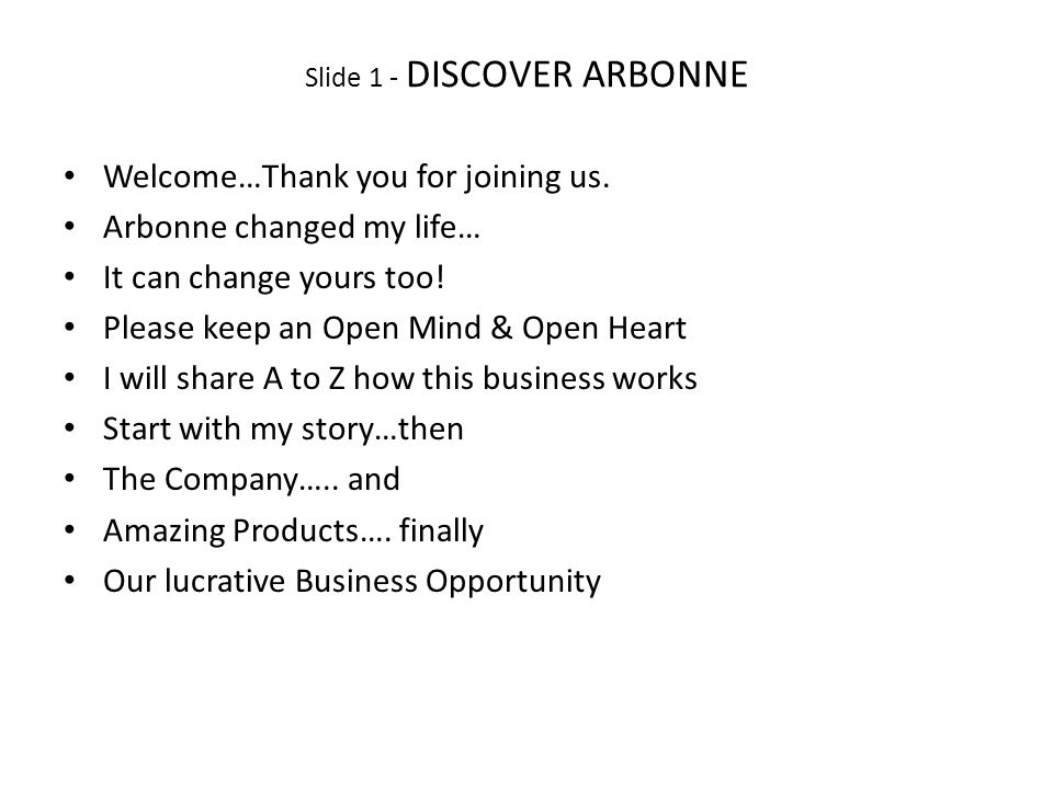 Slide 1 - DISCOVER ARBONNE