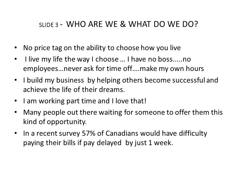 SLIDE 3 - WHO ARE WE & WHAT DO WE DO