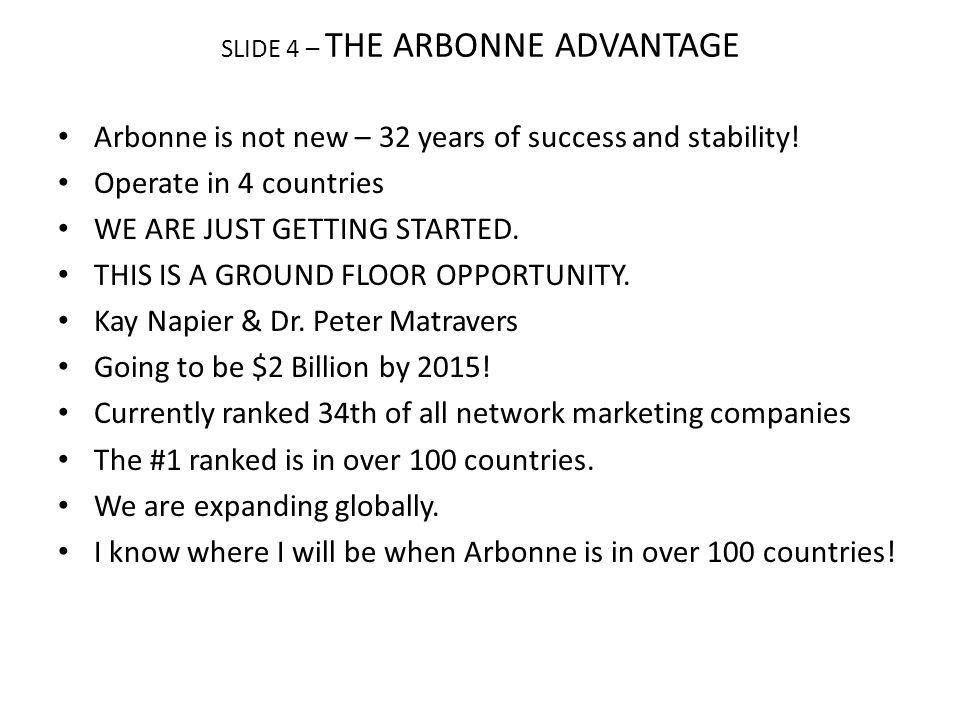 SLIDE 4 – THE ARBONNE ADVANTAGE