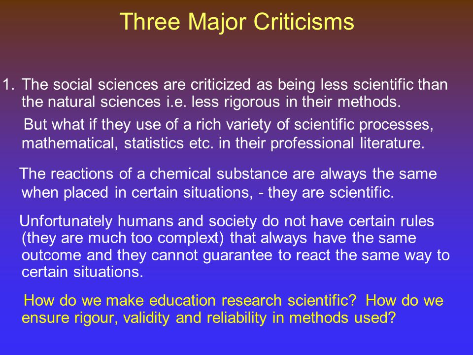 Three Major Criticisms