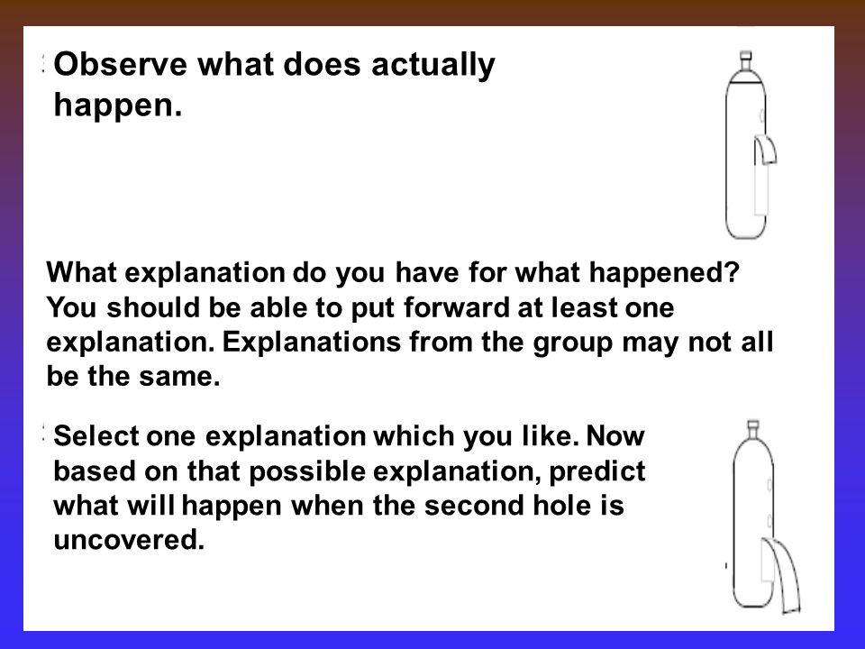 Observe what does actually happen.