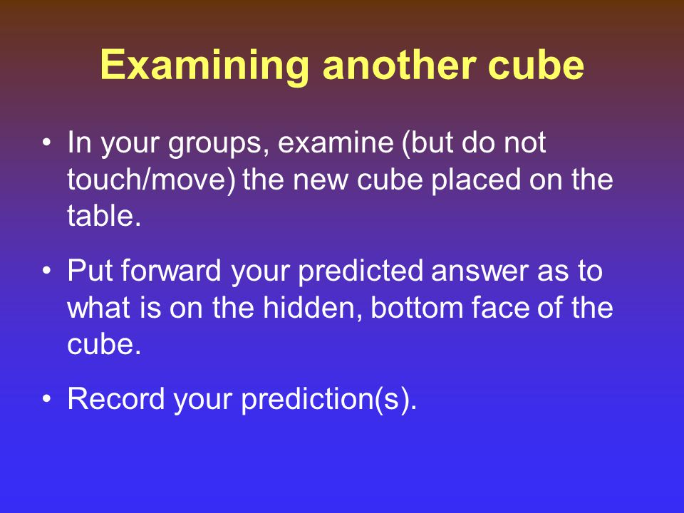 Examining another cube