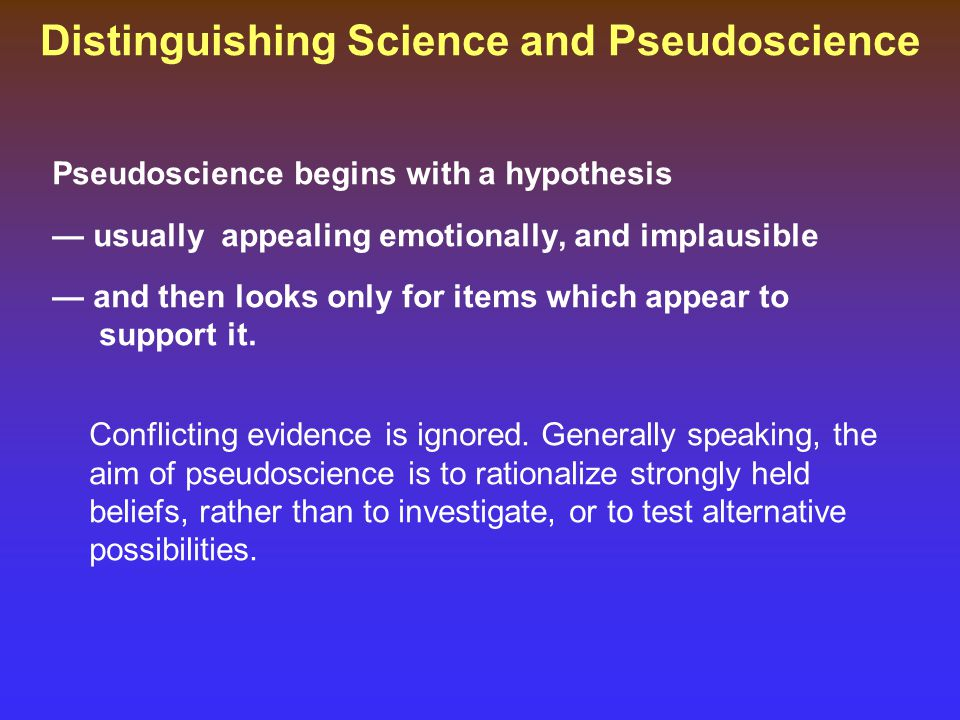 Distinguishing Science and Pseudoscience