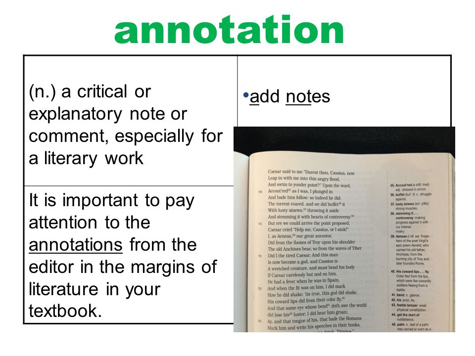 annotation (n.) a critical or explanatory note or comment, especially for a literary work. add notes.