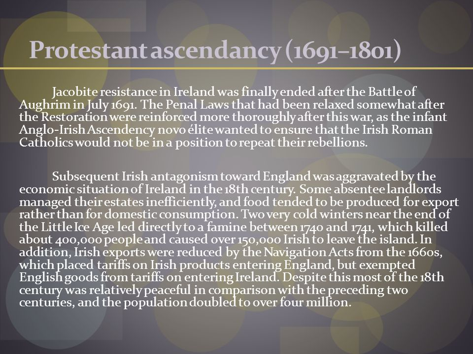 Protestant ascendancy (1691–1801)