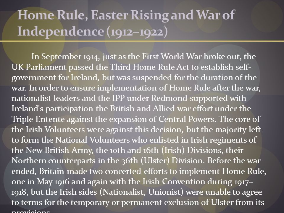 Home Rule, Easter Rising and War of Independence (1912–1922)