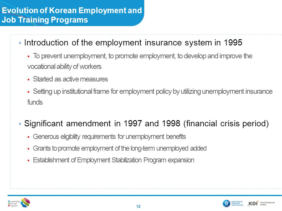 Evolution of Korean Employment and Job Training Programs