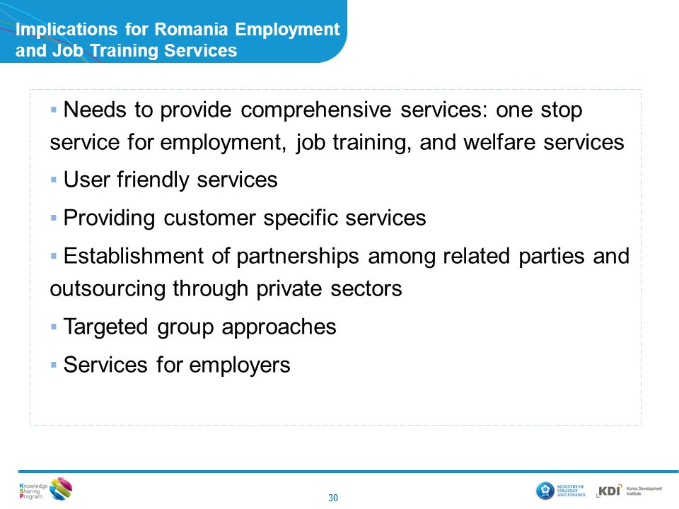 Implications for Romania Employment and Job Training Services