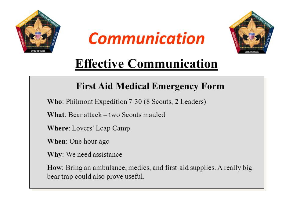 Effective Communication First Aid Medical Emergency Form