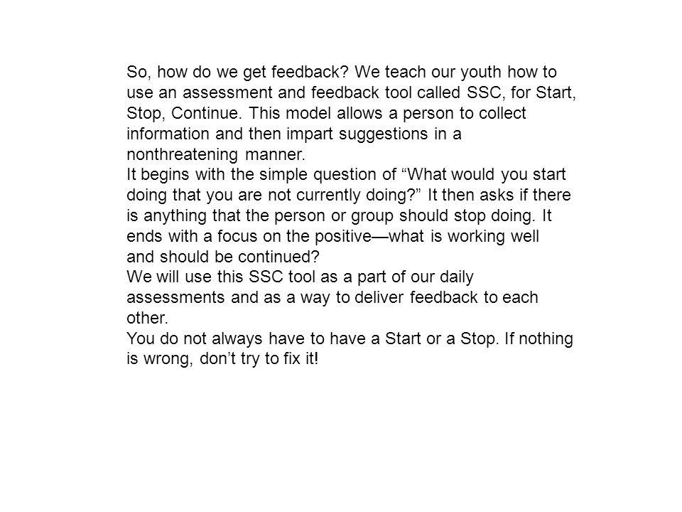 So, how do we get feedback