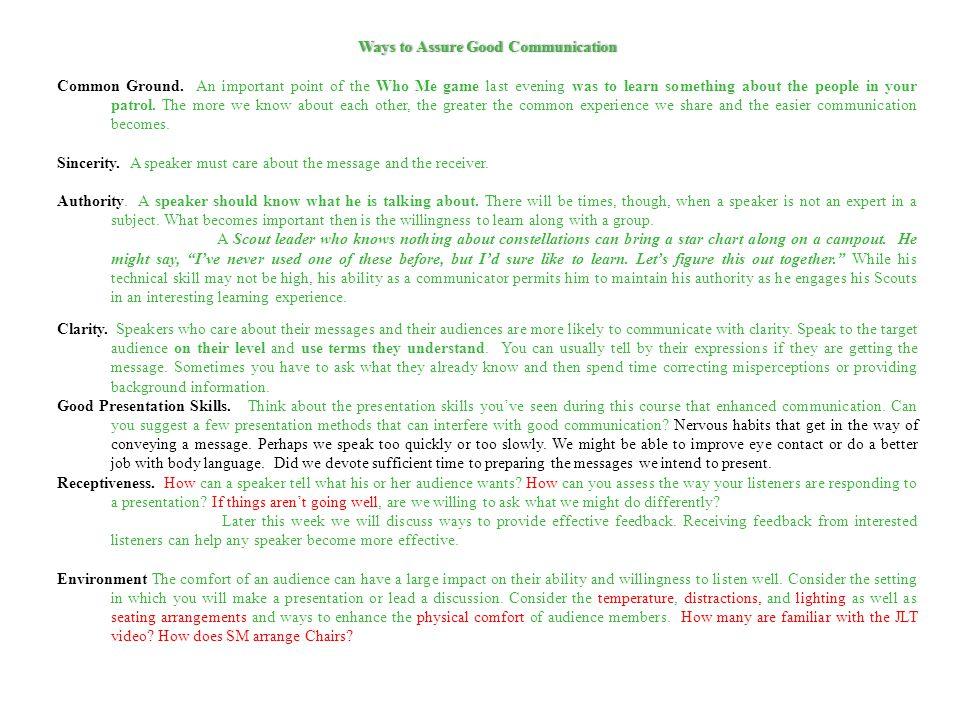 Ways to Assure Good Communication