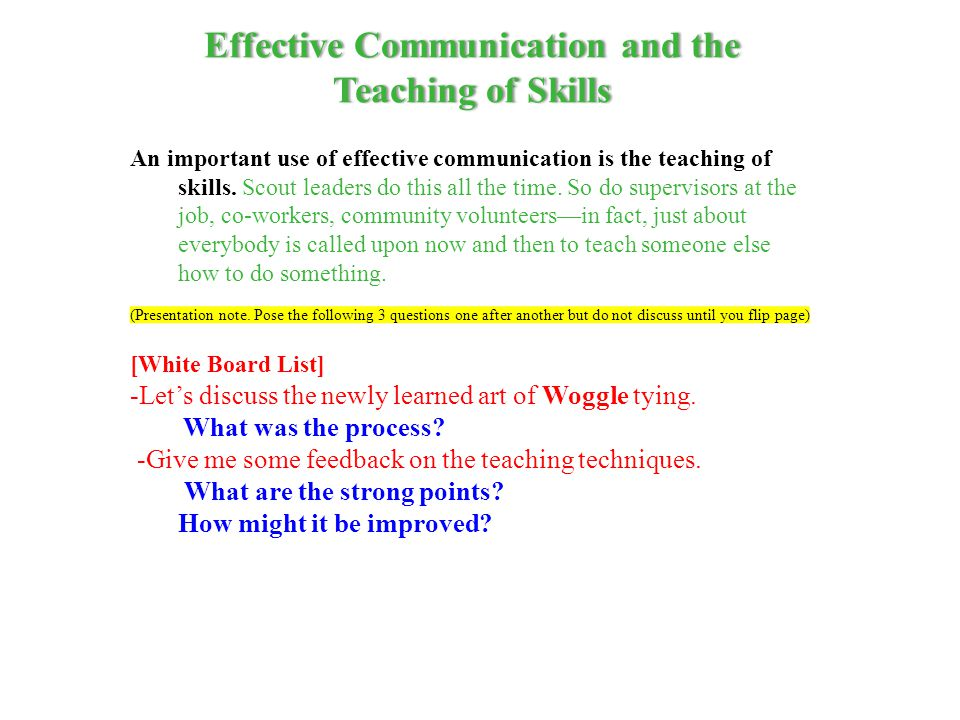 Effective Communication and the
