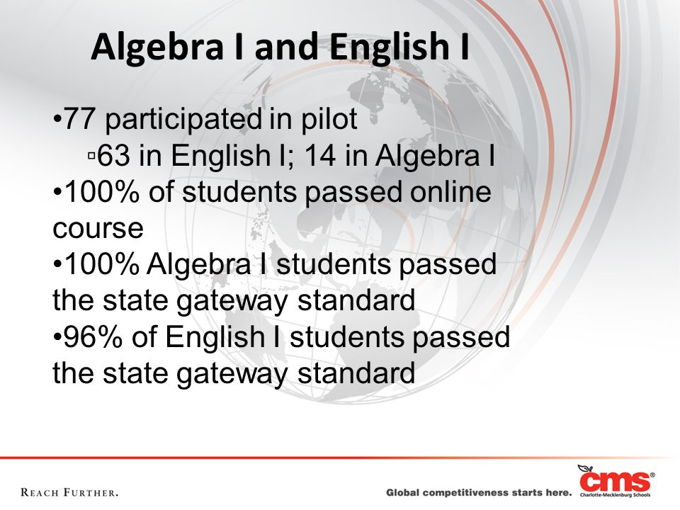 Algebra I and English I 77 participated in pilot