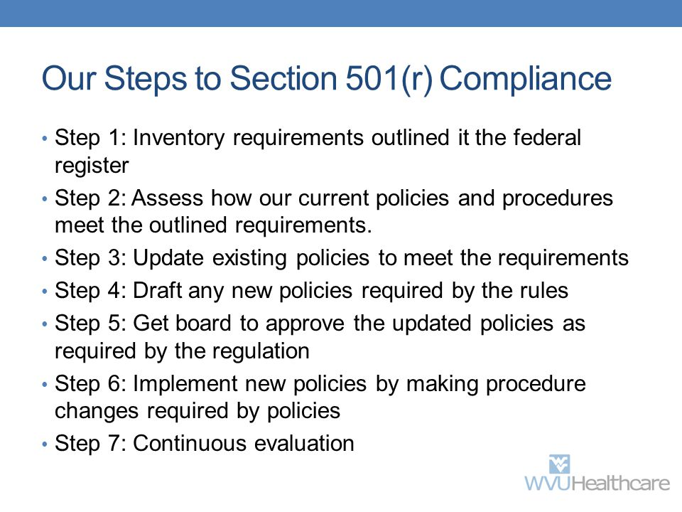 Our Steps to Section 501(r) Compliance