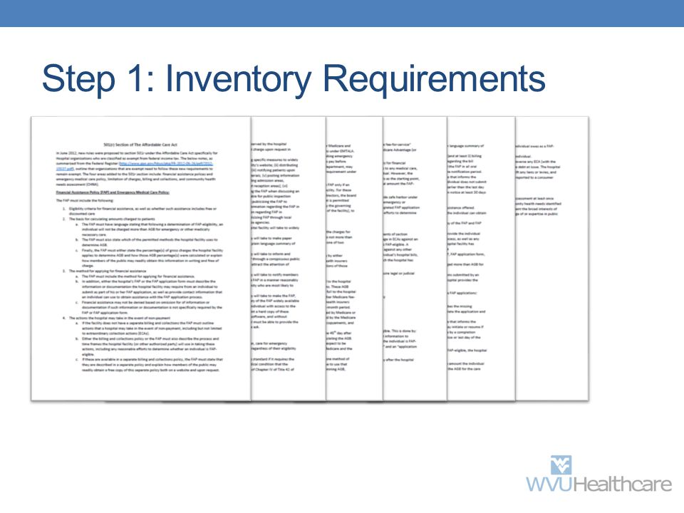 Step 1: Inventory Requirements