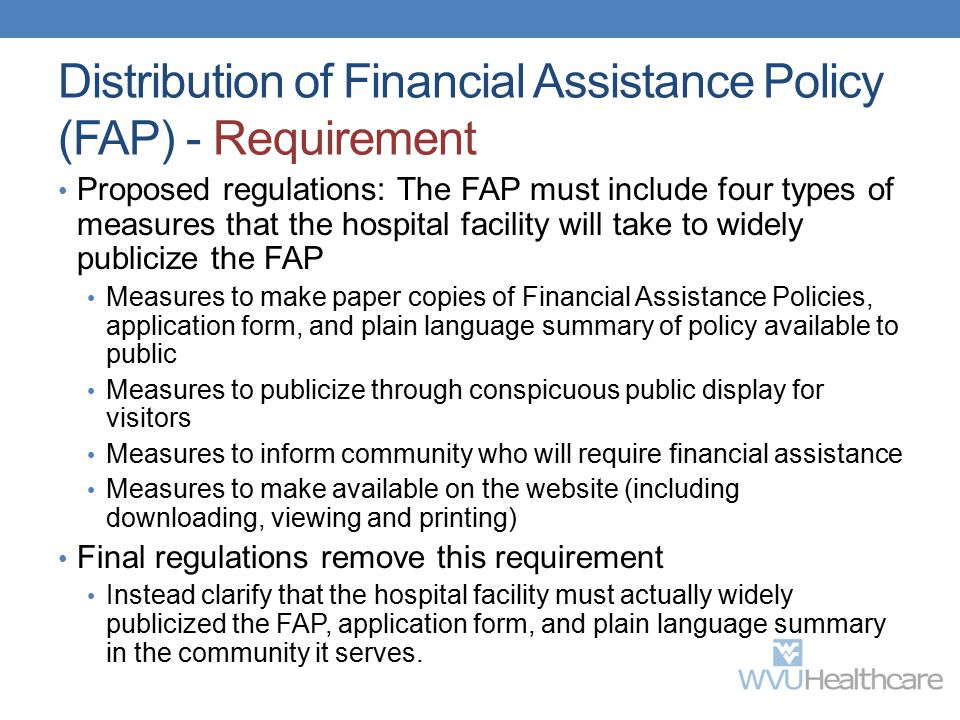 Distribution of Financial Assistance Policy (FAP) - Requirement