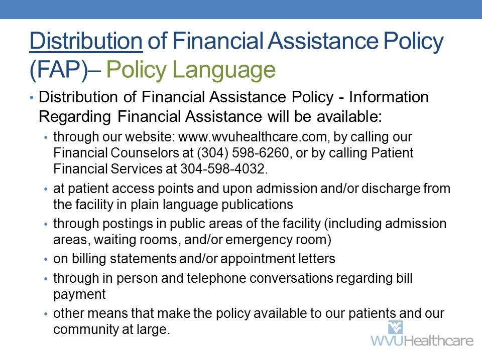 Distribution of Financial Assistance Policy (FAP)– Policy Language