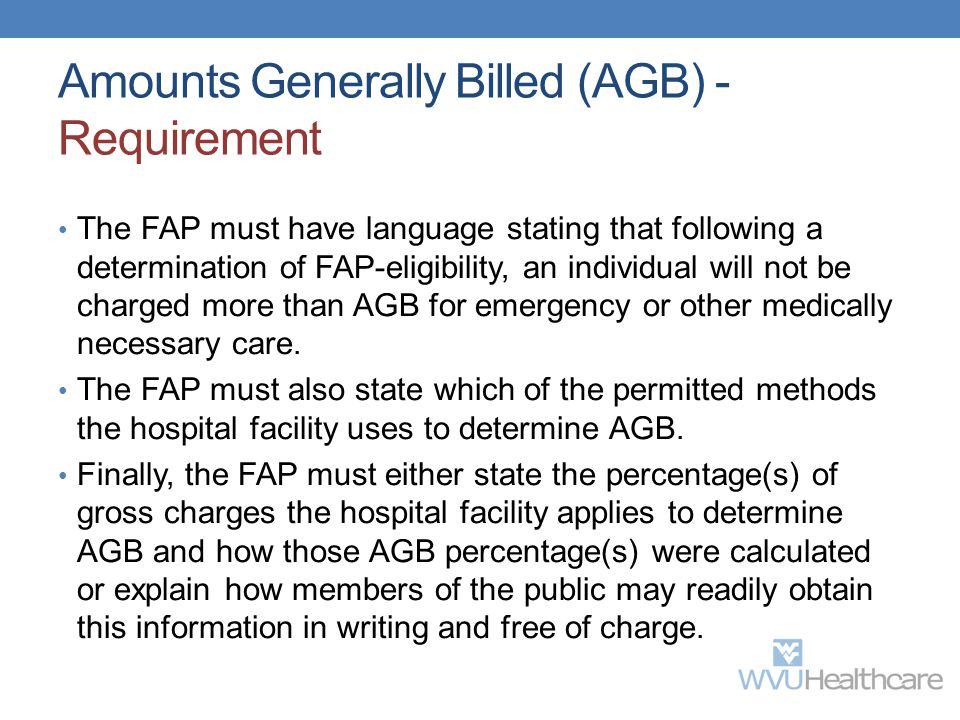 Amounts Generally Billed (AGB) - Requirement