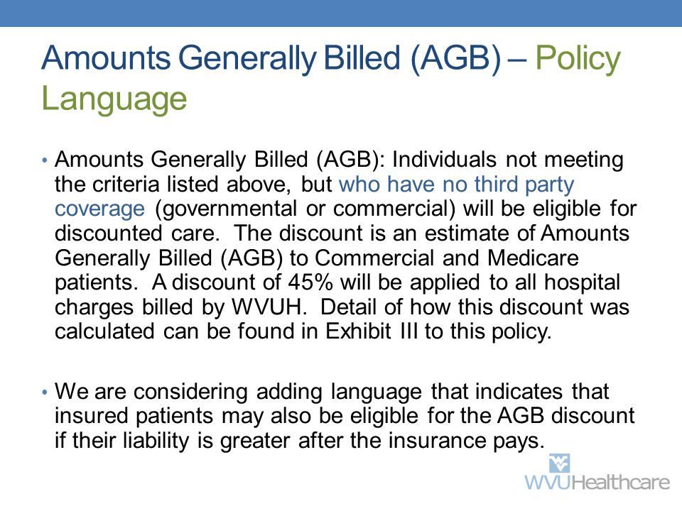 Amounts Generally Billed (AGB) – Policy Language