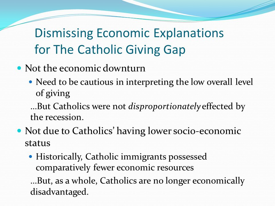 Dismissing Economic Explanations for The Catholic Giving Gap