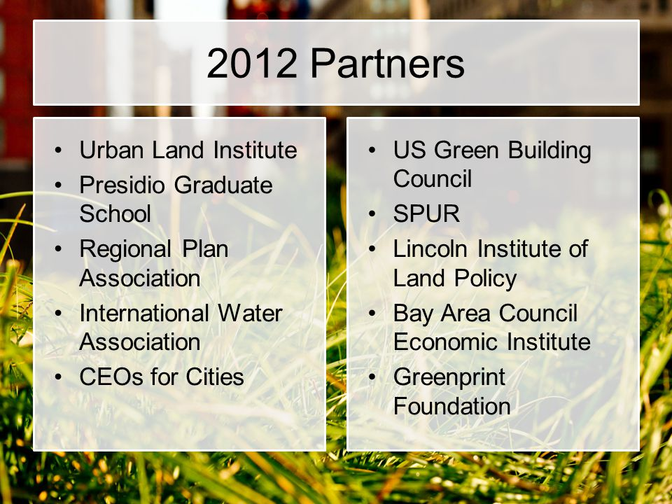 2012 Partners Urban Land Institute Presidio Graduate School