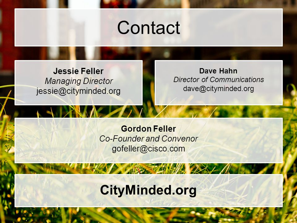 Contact CityMinded.org Jessie Feller Managing Director