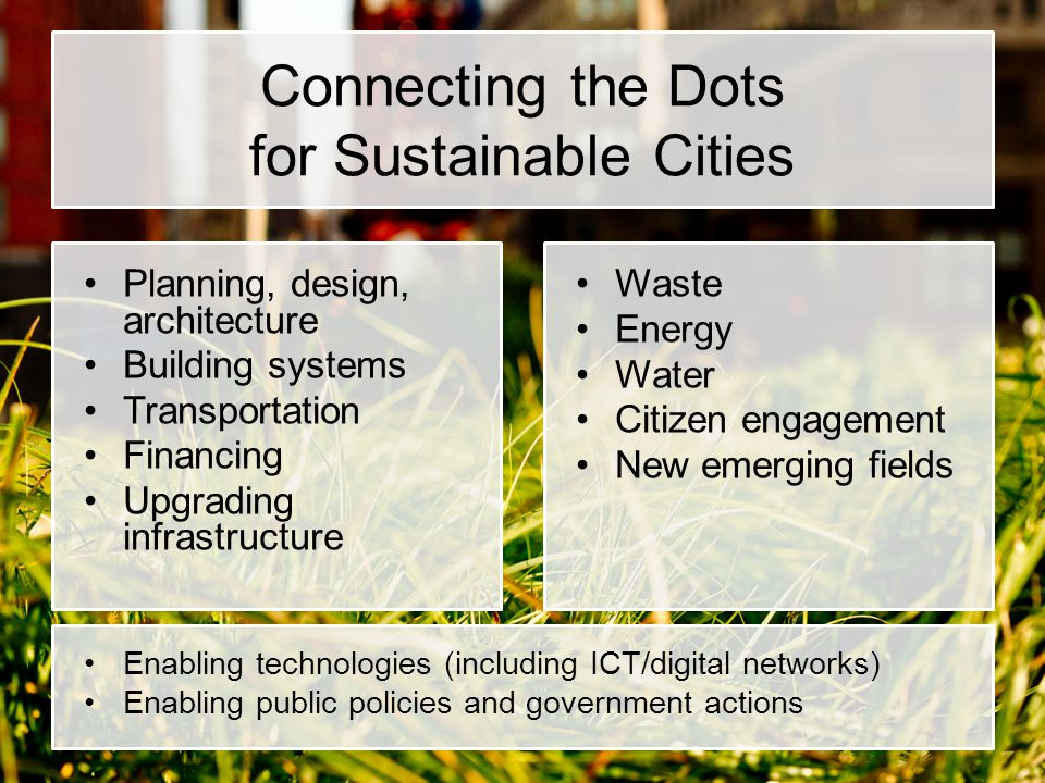 Connecting the Dots for Sustainable Cities