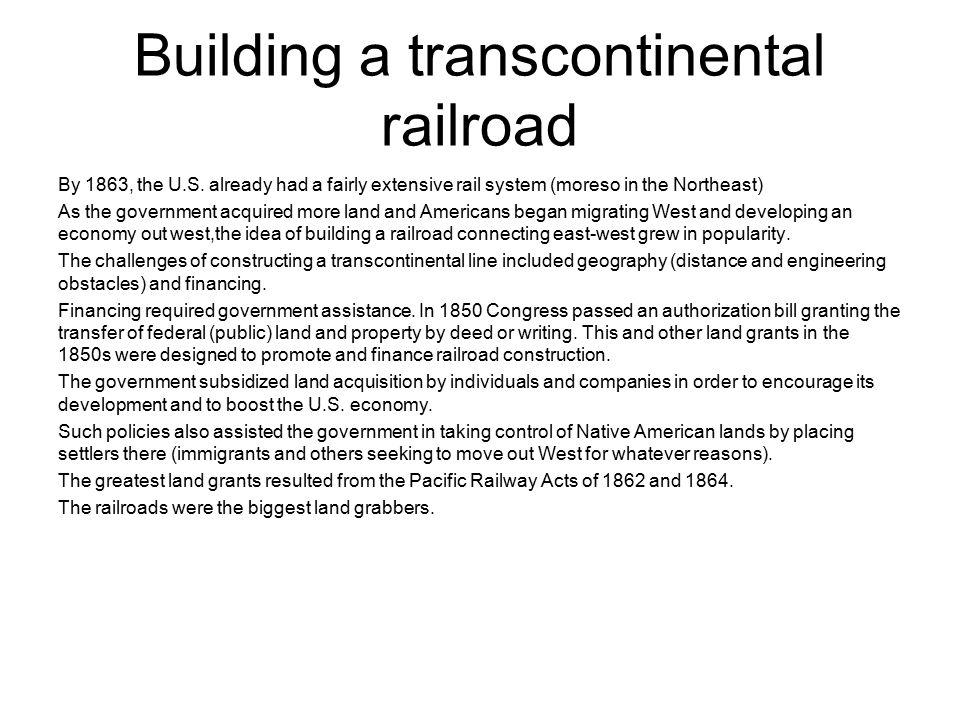Building a transcontinental railroad