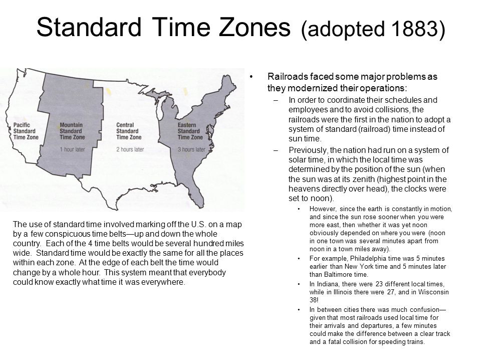 Standard Time Zones (adopted 1883)