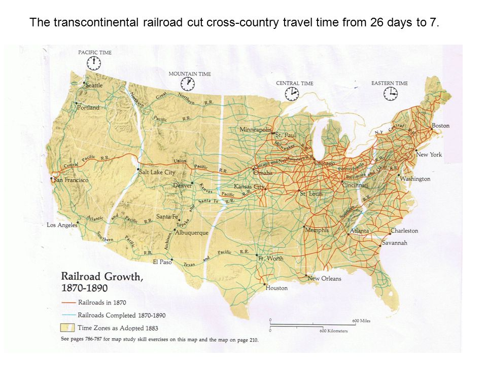 The transcontinental railroad cut cross-country travel time from 26 days to 7.