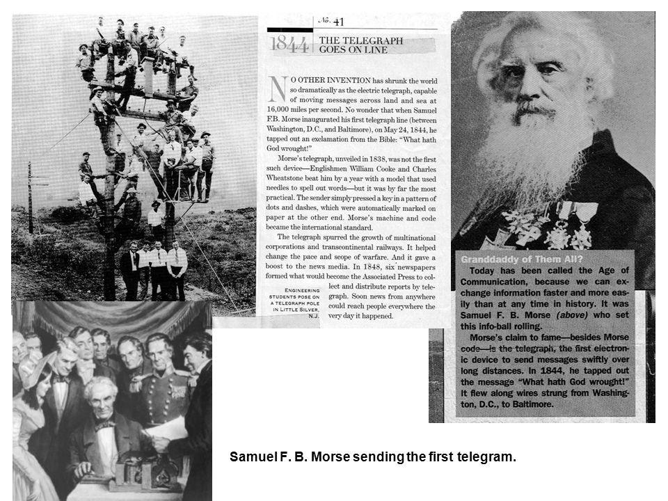 Samuel F. B. Morse sending the first telegram.