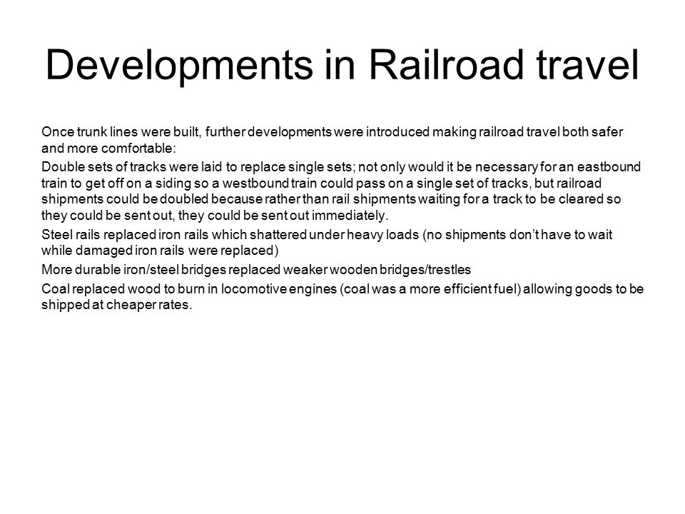 Developments in Railroad travel