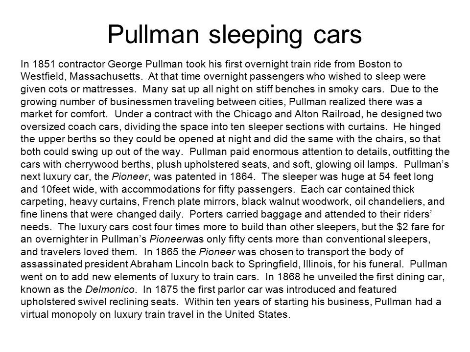 Pullman sleeping cars