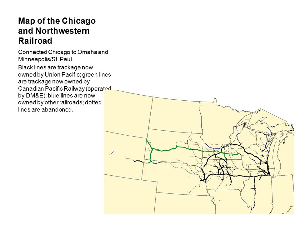 Map of the Chicago and Northwestern Railroad