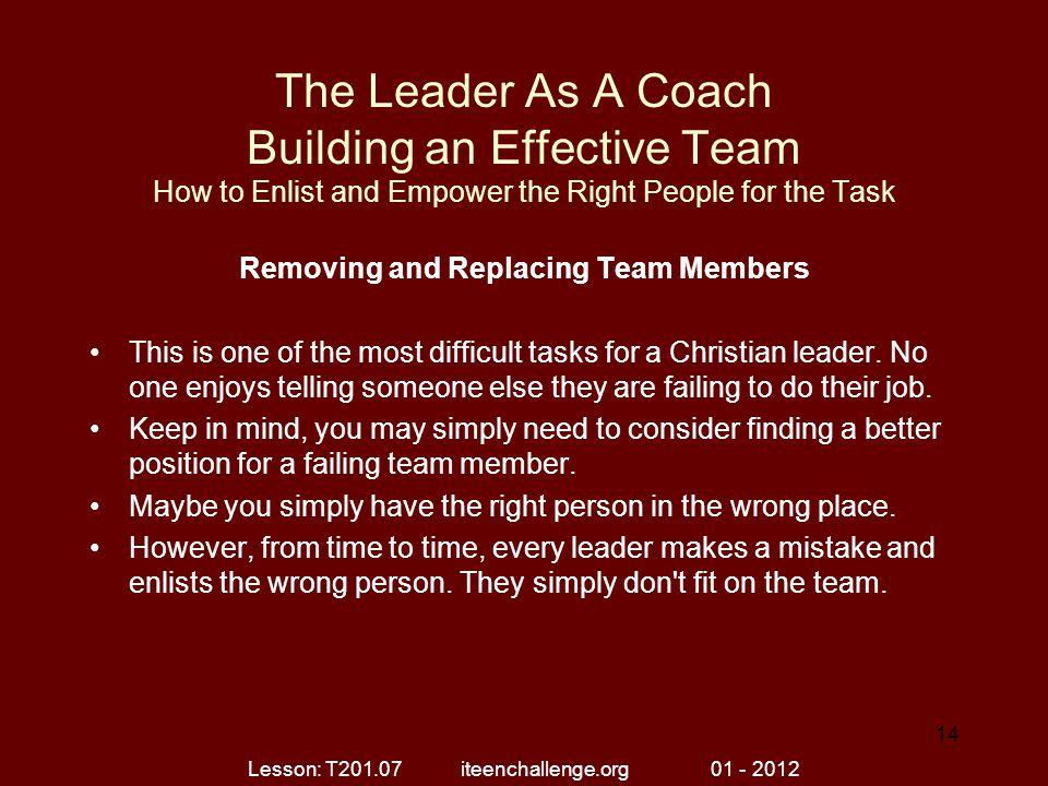 Removing and Replacing Team Members