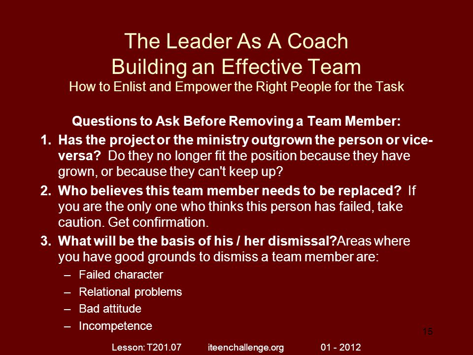 Questions to Ask Before Removing a Team Member: