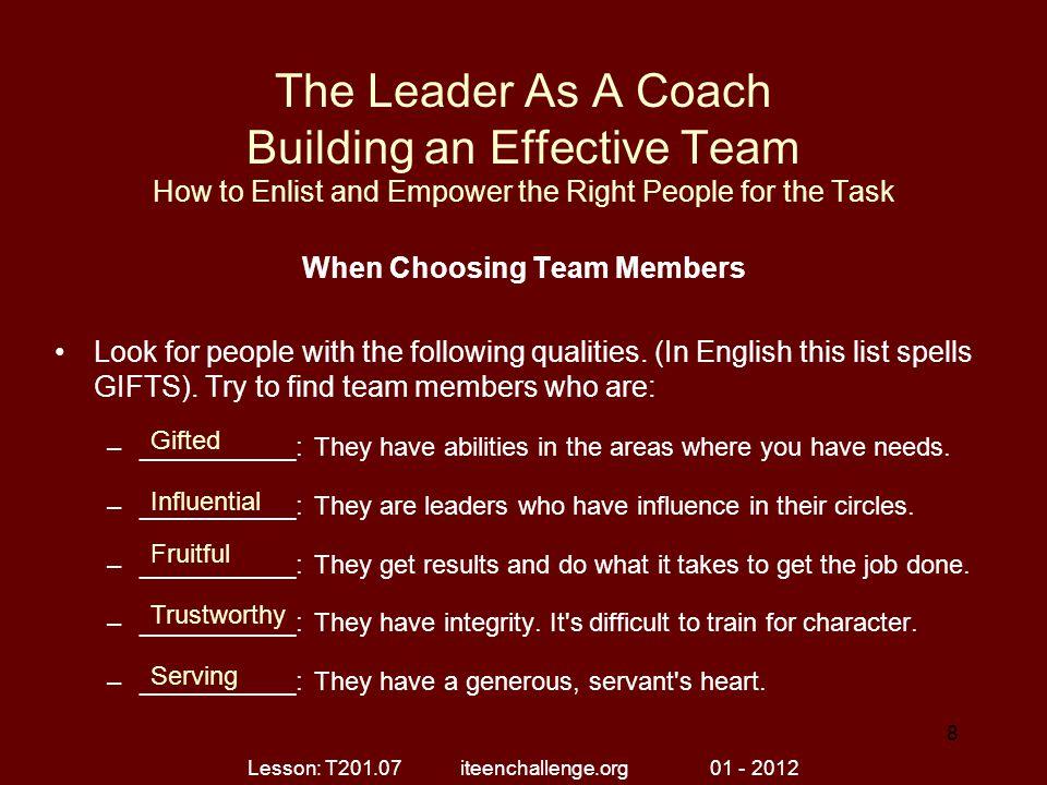 When Choosing Team Members
