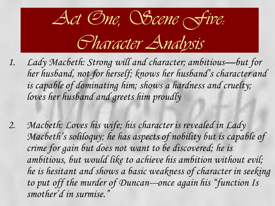 Act One, Scene Five: Character Analysis