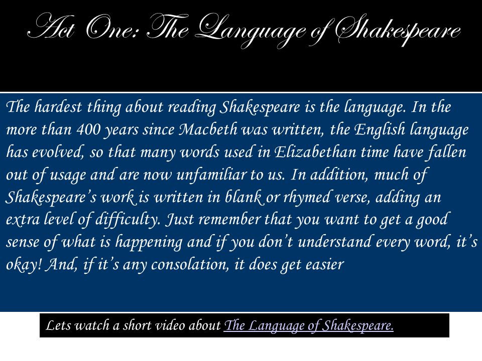 Act One: The Language of Shakespeare