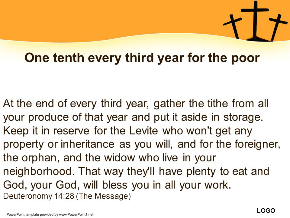 One tenth every third year for the poor