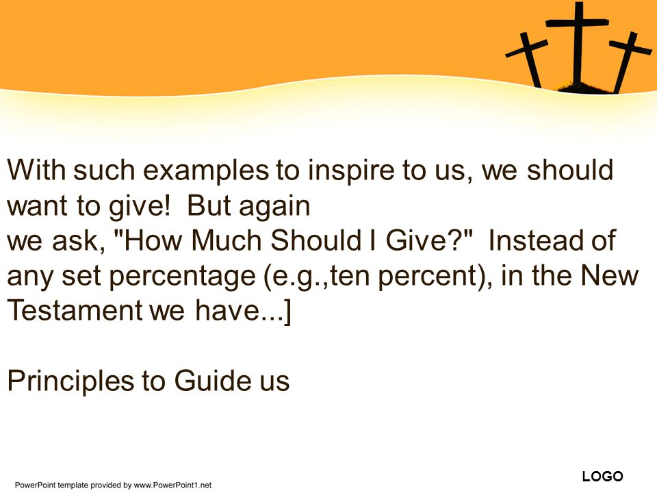 With such examples to inspire to us, we should want to give! But again