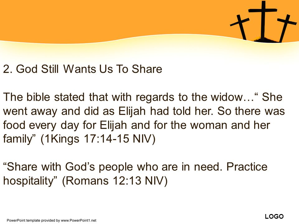 2. God Still Wants Us To Share