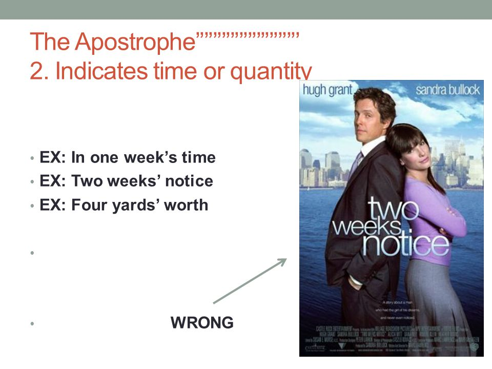The Apostrophe'''''''''''''''''''''''' 2. Indicates time or quantity