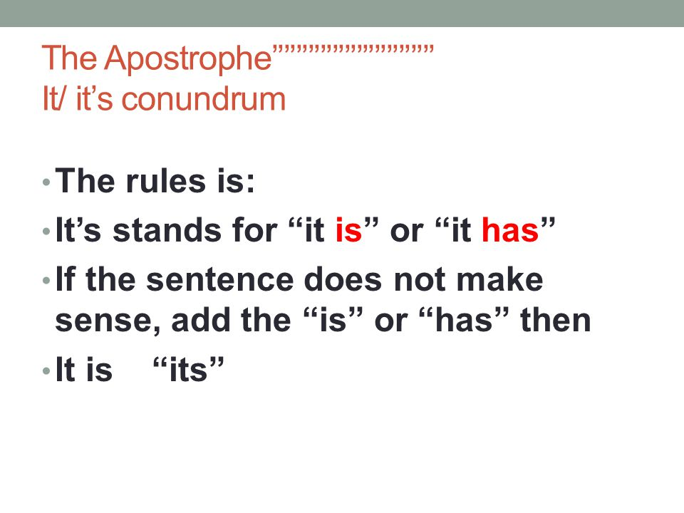 The Apostrophe''''''''''''''''''''''''''' It/ it's conundrum