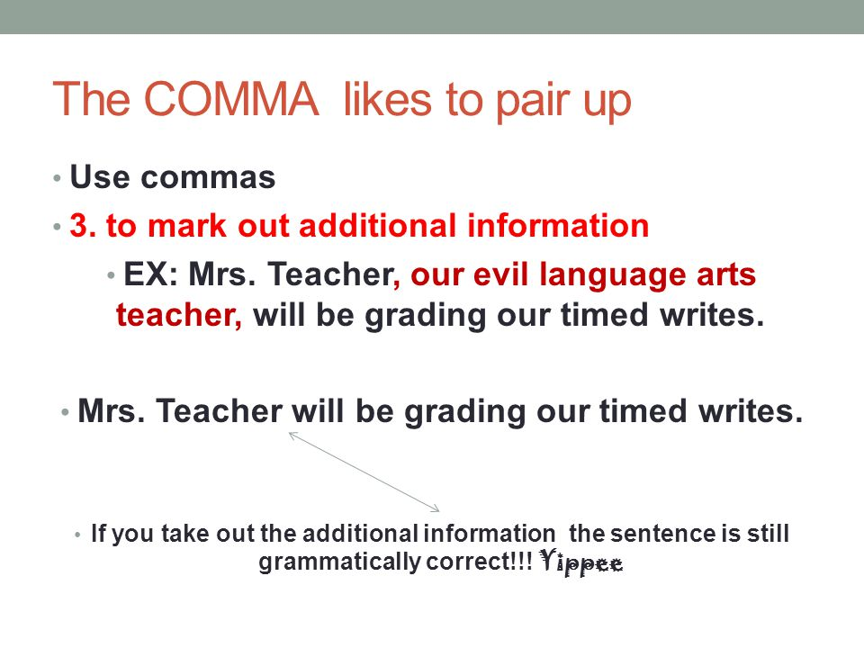 The COMMA likes to pair up