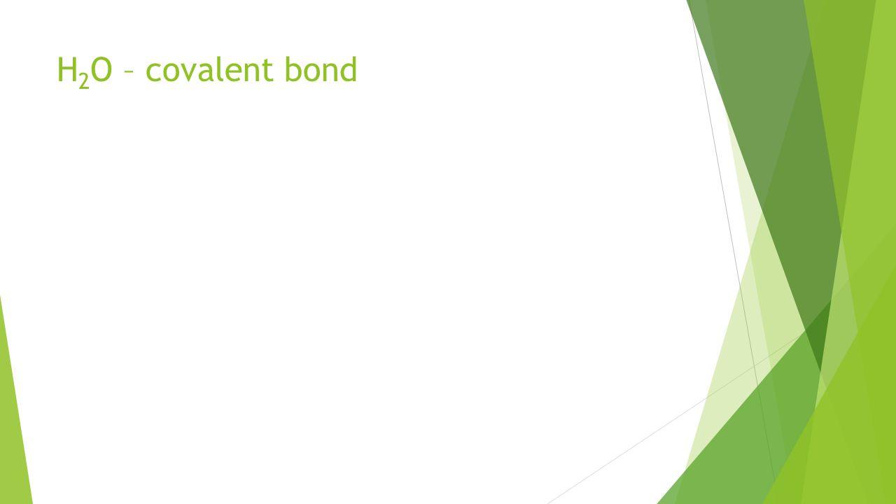 H2O – covalent bond Show H2O example
