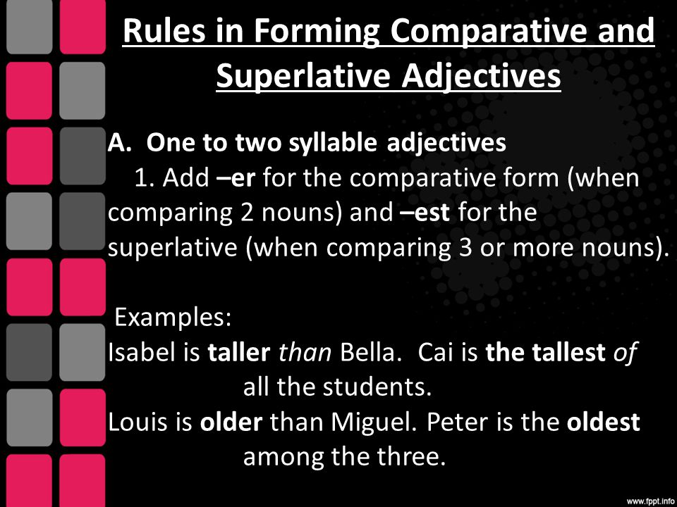 Rules in Forming Comparative and Superlative Adjectives